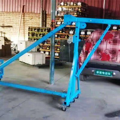 10米高层使用移动直臂吊窗机吊运1吨铁笼子