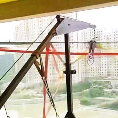 移动直臂式高层玻璃吊机吊玻璃现场