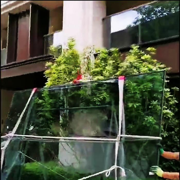 倍吊装带捆好的大玻璃现场